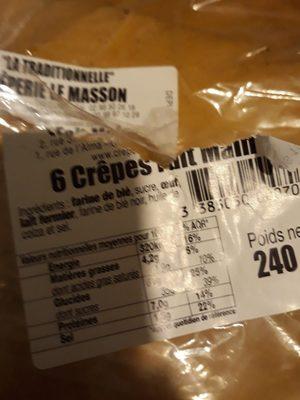 Crêperie La Masson 6 Crêpe Fait Maison Poids Net : 240g - Ingredients