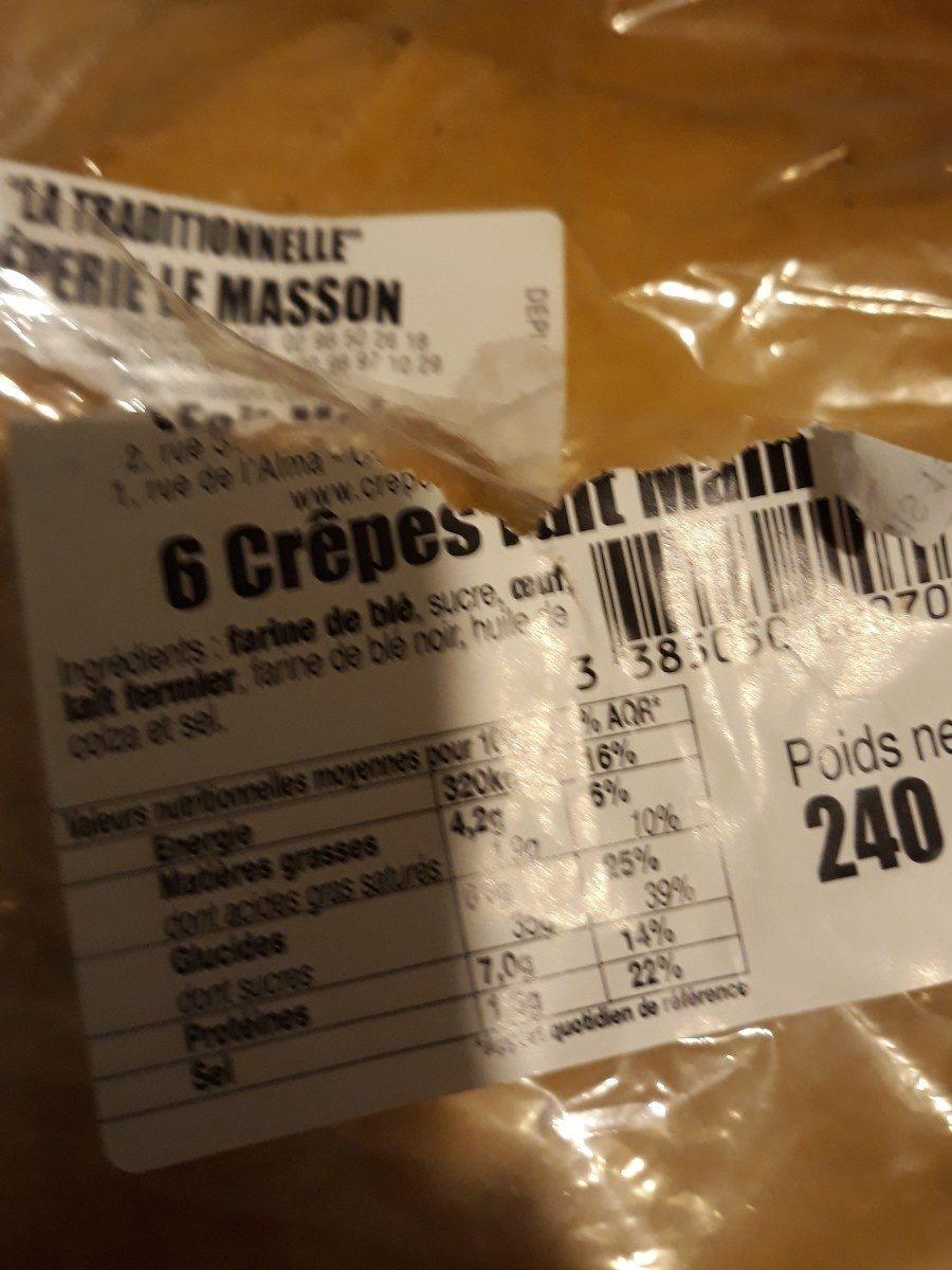 Crêperie La Masson 6 Crêpe Fait Maison Poids Net : 240g - Ingredients - fr