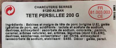 Pate de tête - Ingrediënten - fr