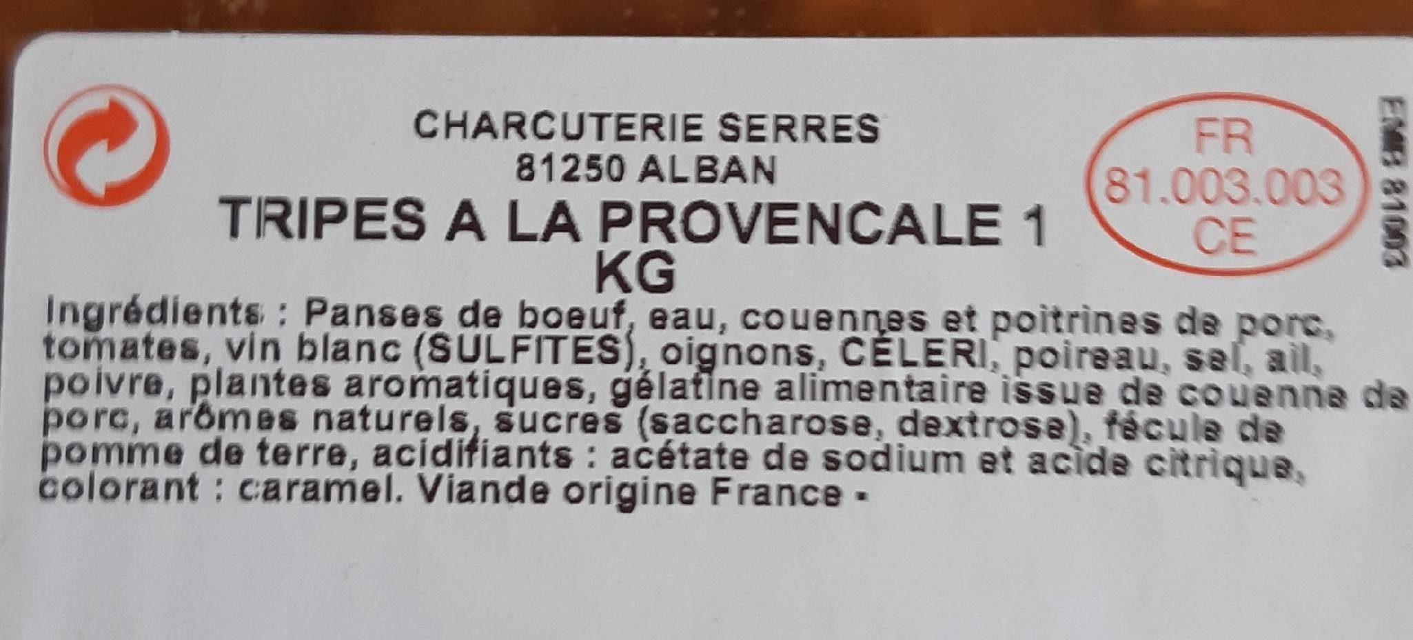Tripes à la provençale - Ingrediënten - fr