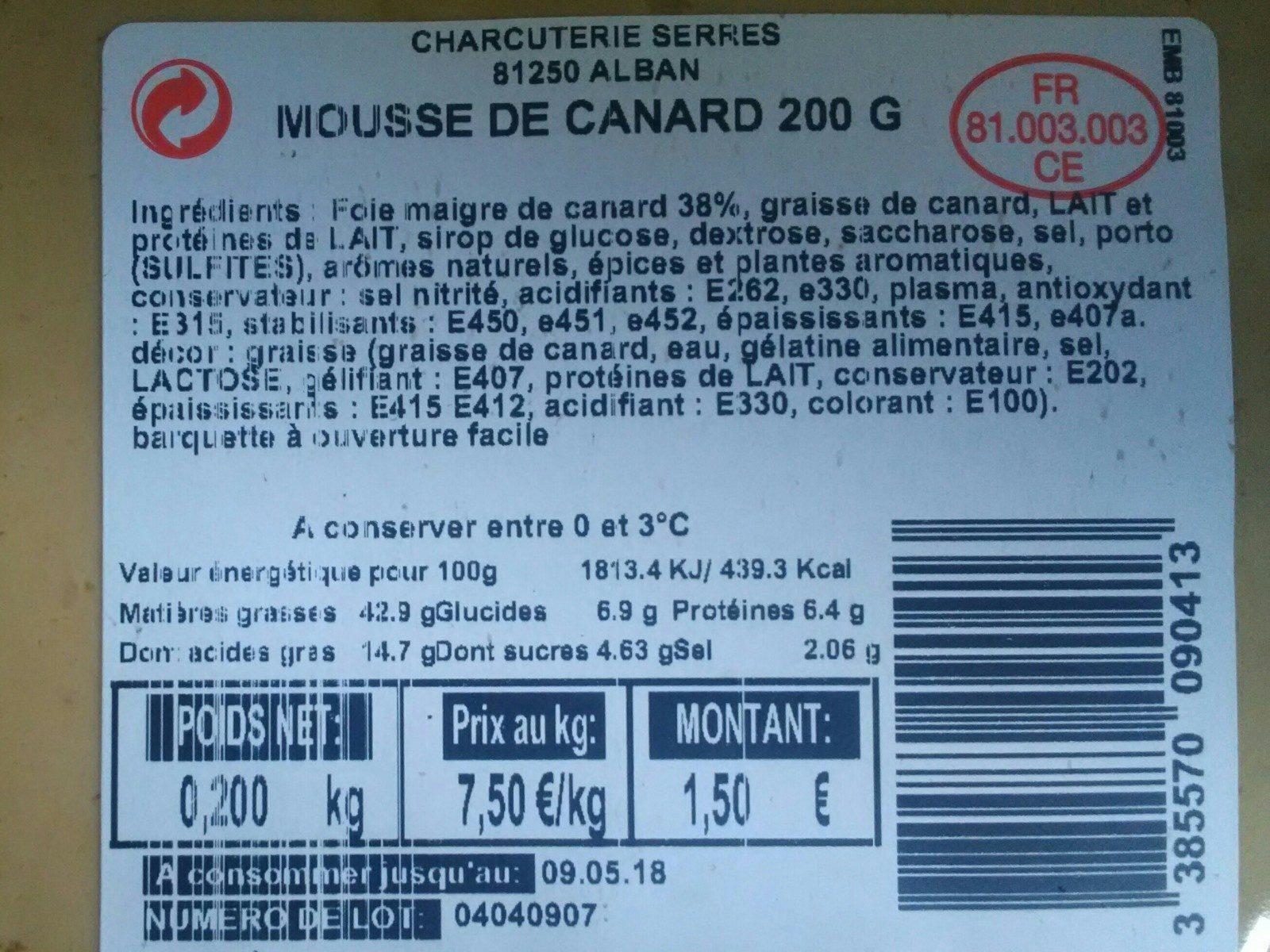 Mousse De Canard 200g - Ingrediënten - fr