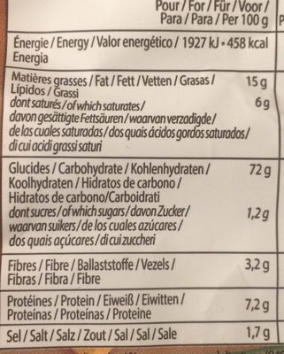 Snacks - Nutrition facts
