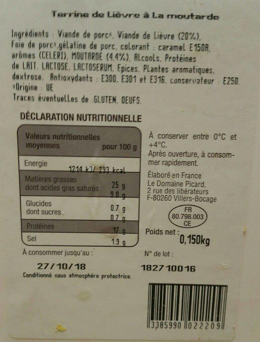 Terrine de lièvre à la moutarde - Produit - fr