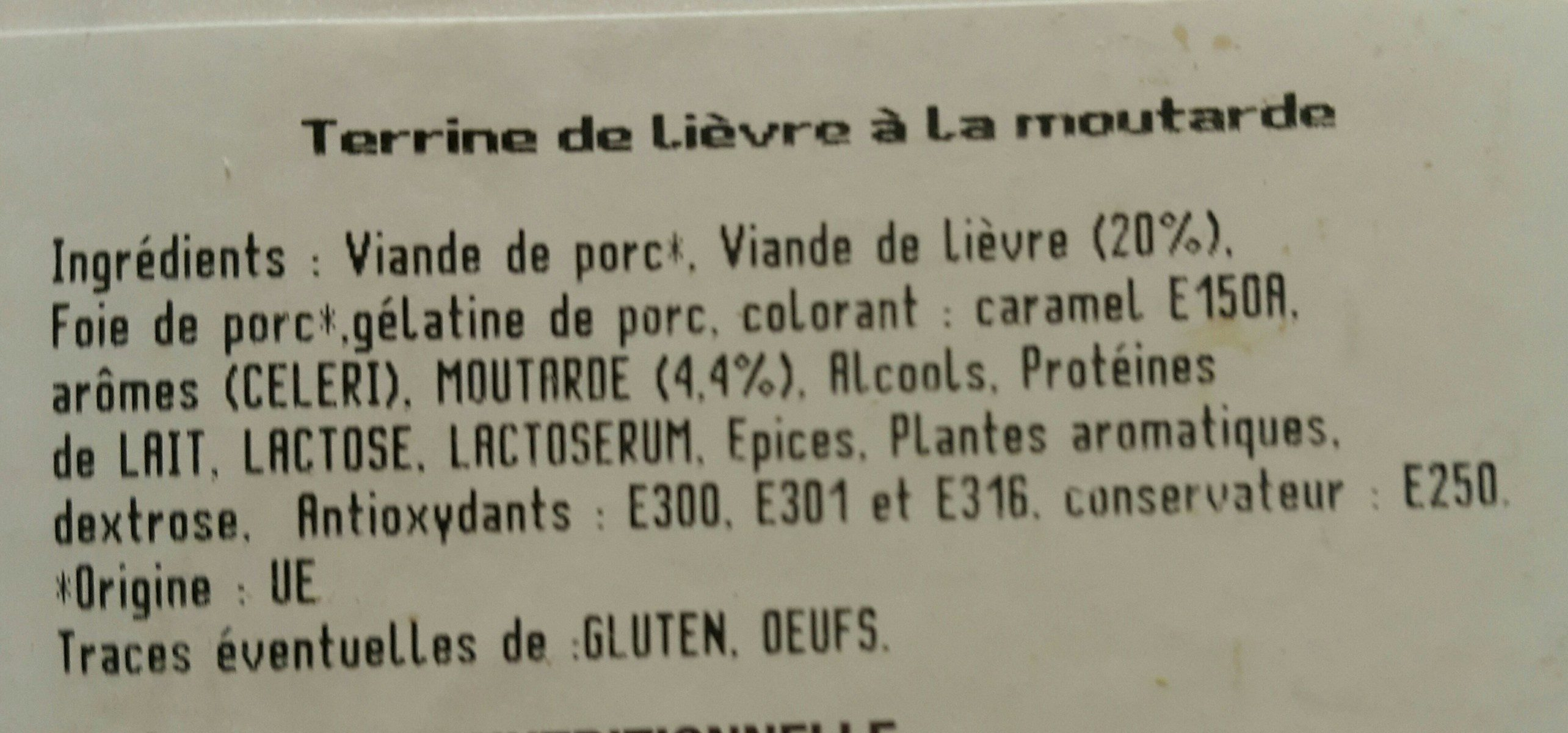 Terrine de lièvre à la moutarde - Ingrédients - fr