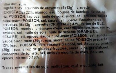 Mini Dim Sum Hakao Raviolis aux crevettes/ Siao Maï - Ingrédients - fr