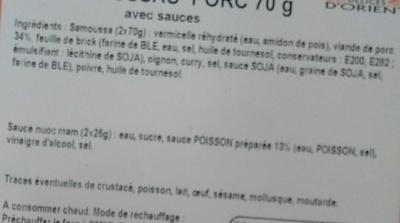 Samoussas Porc avec sauces - Ingrédients - fr