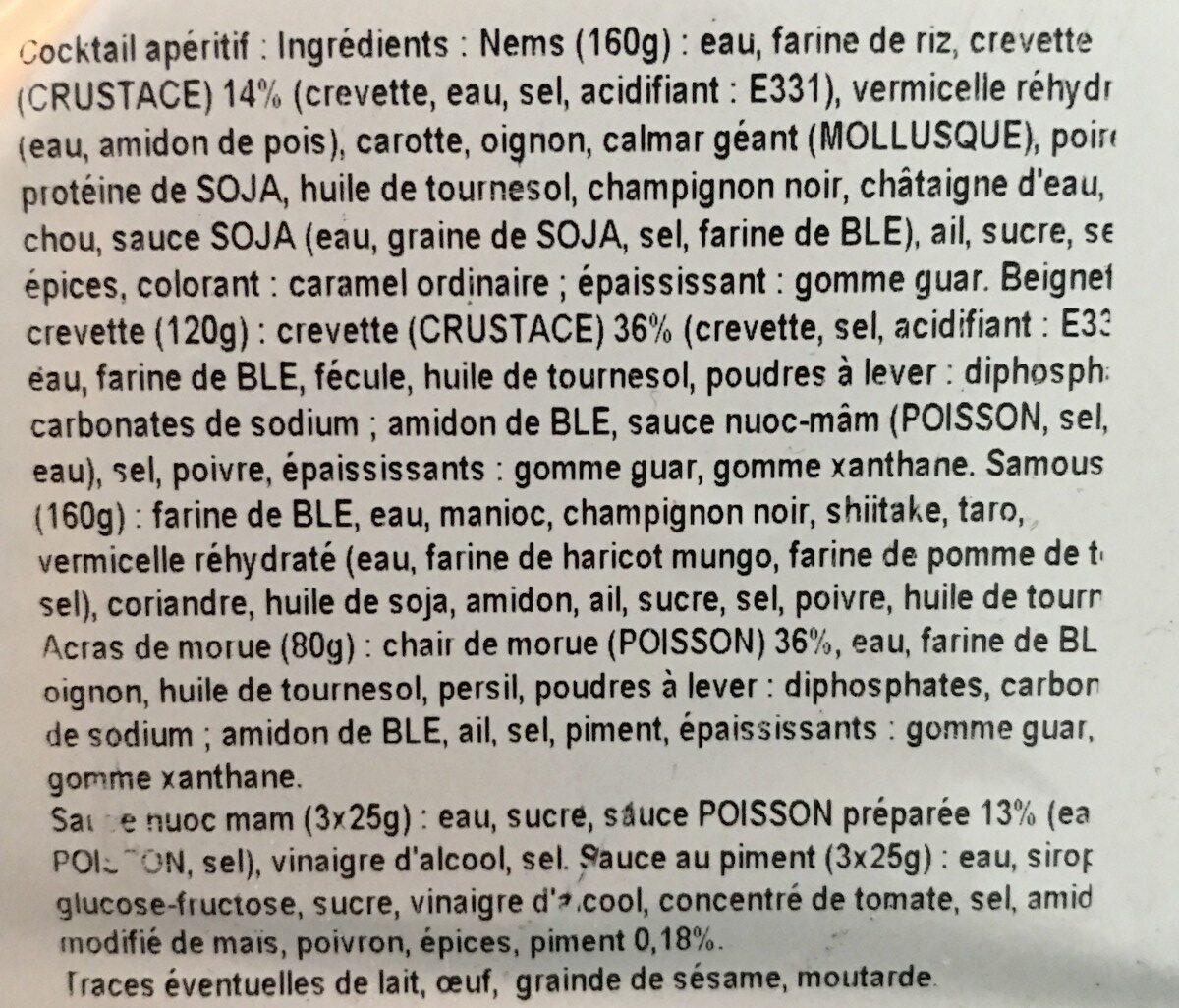Cocktail aperitif «Bouchees exotiques» - Ingrediënten