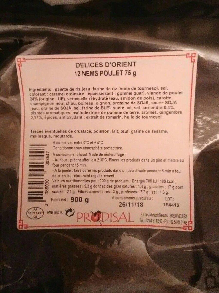 Delices d'Orient 12 nems poulet 75g - Produit - fr