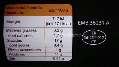 Poulet au curry & riz créole - Informations nutritionnelles