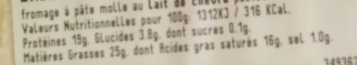 Brique du Velay (25 % MG) - Voedingswaarden