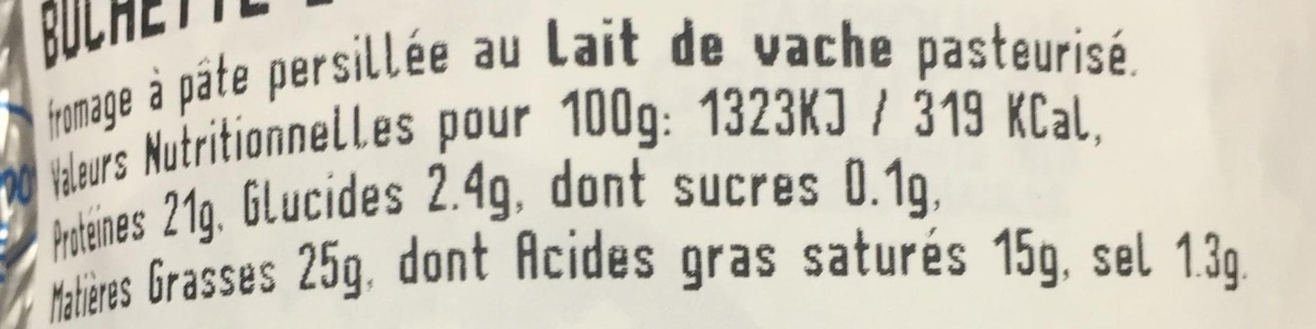 Buchette d'Yssingeaux - Informations nutritionnelles