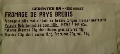 Fromage de pays au lait de montagne - Ingrédients - fr