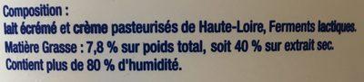 Fromage blanc au lait de montagne Laiterie Gerentes, 40% MG - Ingredients - fr