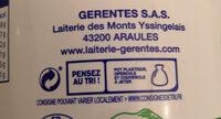 Fromage blanc au lait de montagne Laiterie Gerentes, 40% MG - Recyclinginstructies en / of verpakkingsinformatie - fr