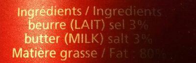 Beurre pasteurisé salé - Ingrediënten