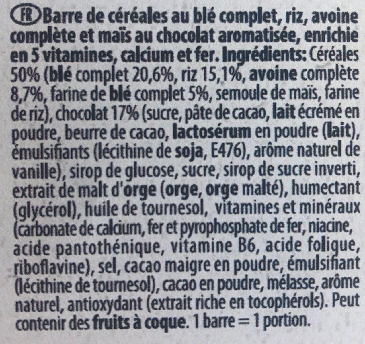 Barre de cereales Fitness Chocolat - Ingredients - fr
