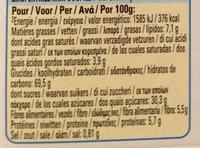 Barre de cereales Fitness Chocolat - Valori nutrizionali