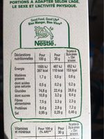 Fitness nature - Nutrition facts