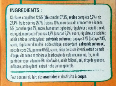 Fitness énergie nutritive Fruits - Ingredients