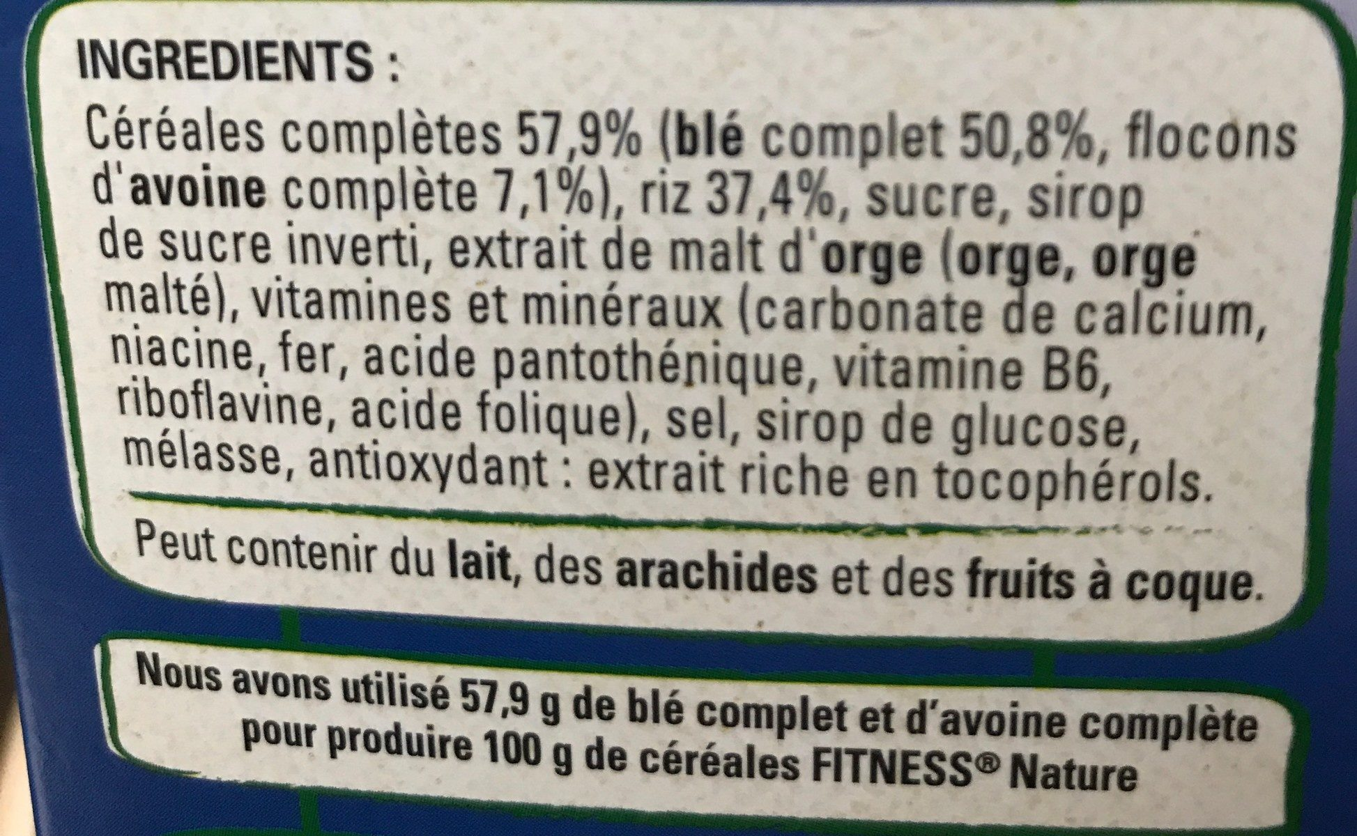 Fitness Nature - Ingredientes - fr