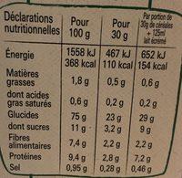 Fitness Nature - Informação nutricional - fr