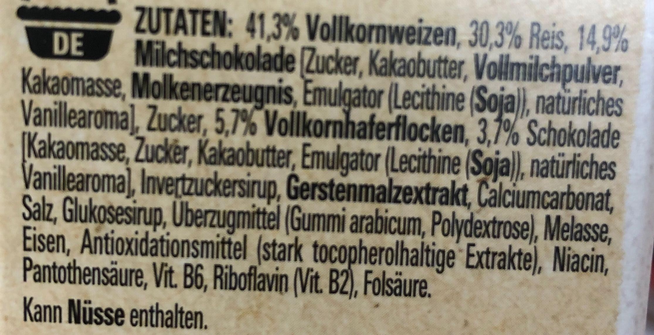 NESTLE FITNESS Chocolat au lait céréales - Zutaten - de