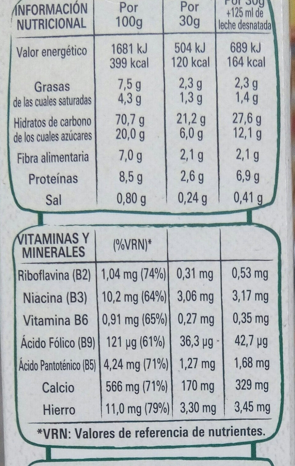 Fitness chocolate con leche - Informació nutricional - es