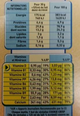 Cookie Crisp - Nutrition facts