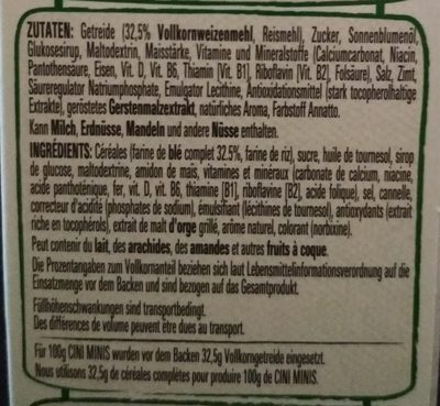 Cini Minis - Ingredientes