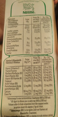 Cini Minis - Información nutricional