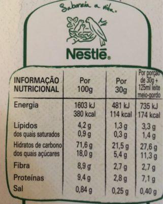 Cereais Nestle Cheerios - Información nutricional