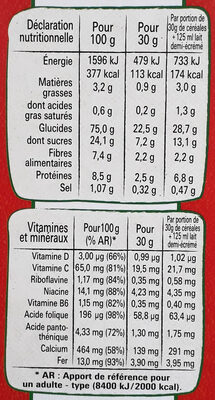 Cheerios miel et 5 Céréales complètes - Nutrition facts