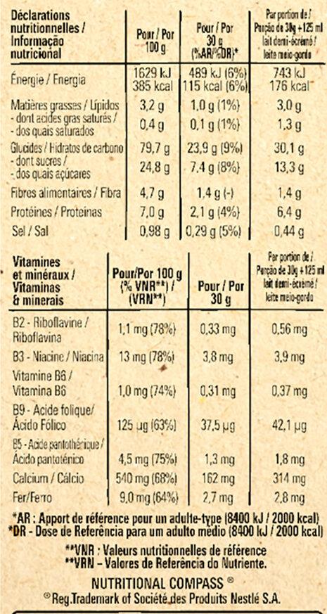 NESTLE GOLDEN GRAHAMS Céréales - Valori nutrizionali - fr