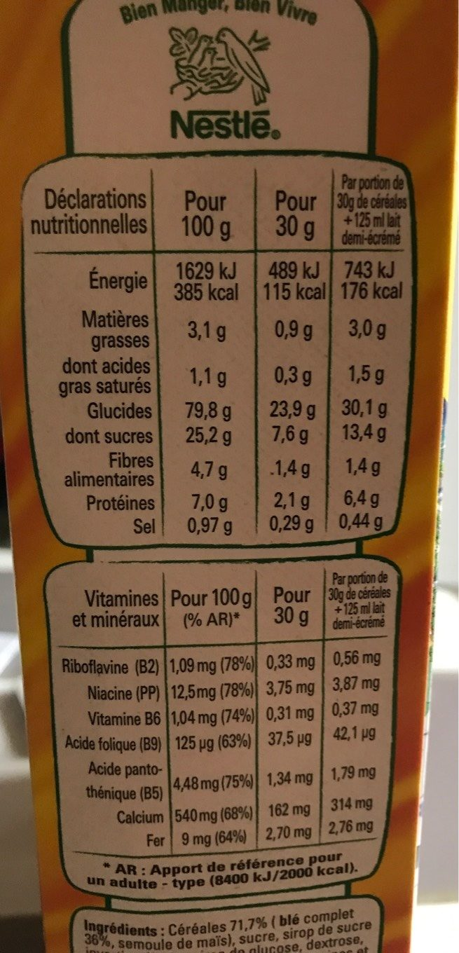 Golden Grahams - Informations nutritionnelles