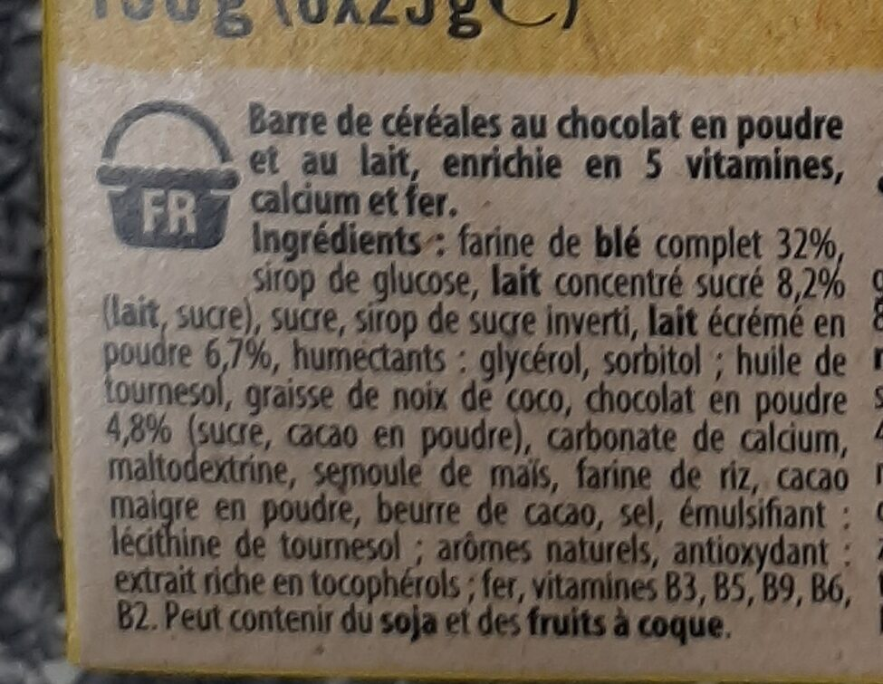 NESQUIK Barres de Céréales 6 x 25g - Ingredients - fr