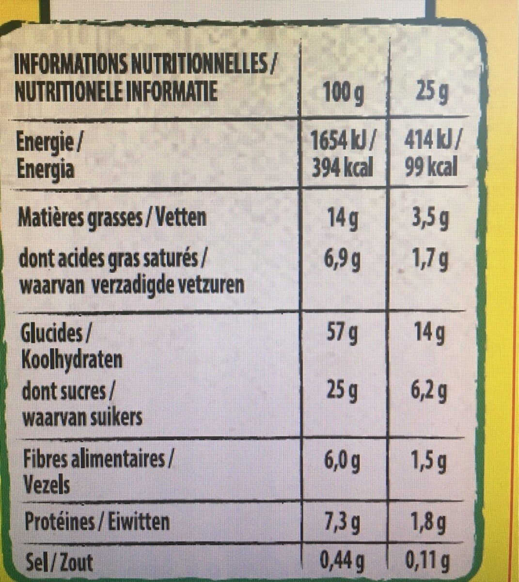NESQUIK Barres de Céréales 6 x 25g - Nutrition facts - fr