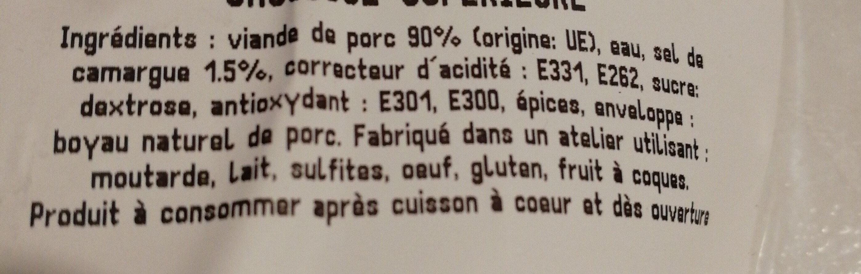 Saucisses supérieur - Ingrediënten