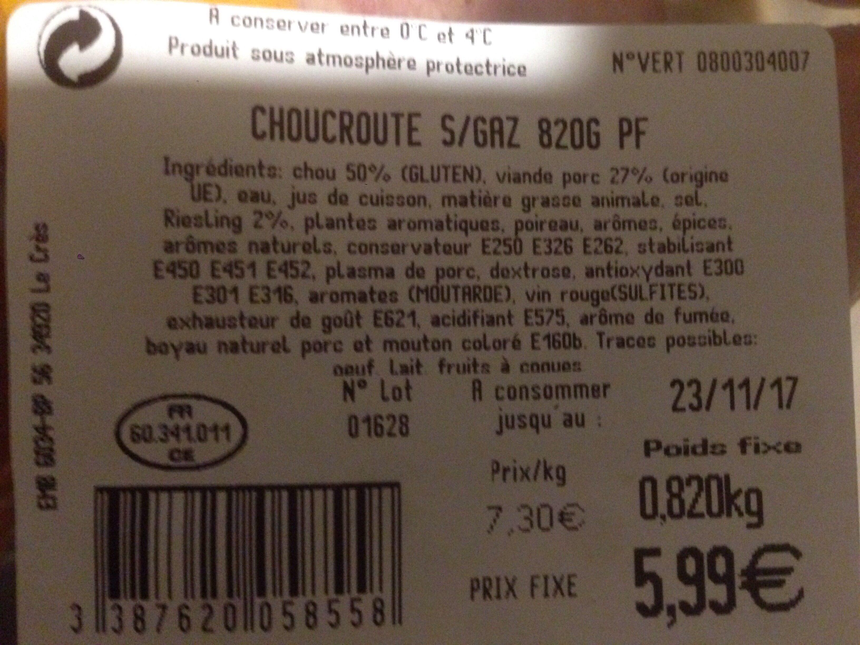 Choucroute gourmande - Ingrédients - fr