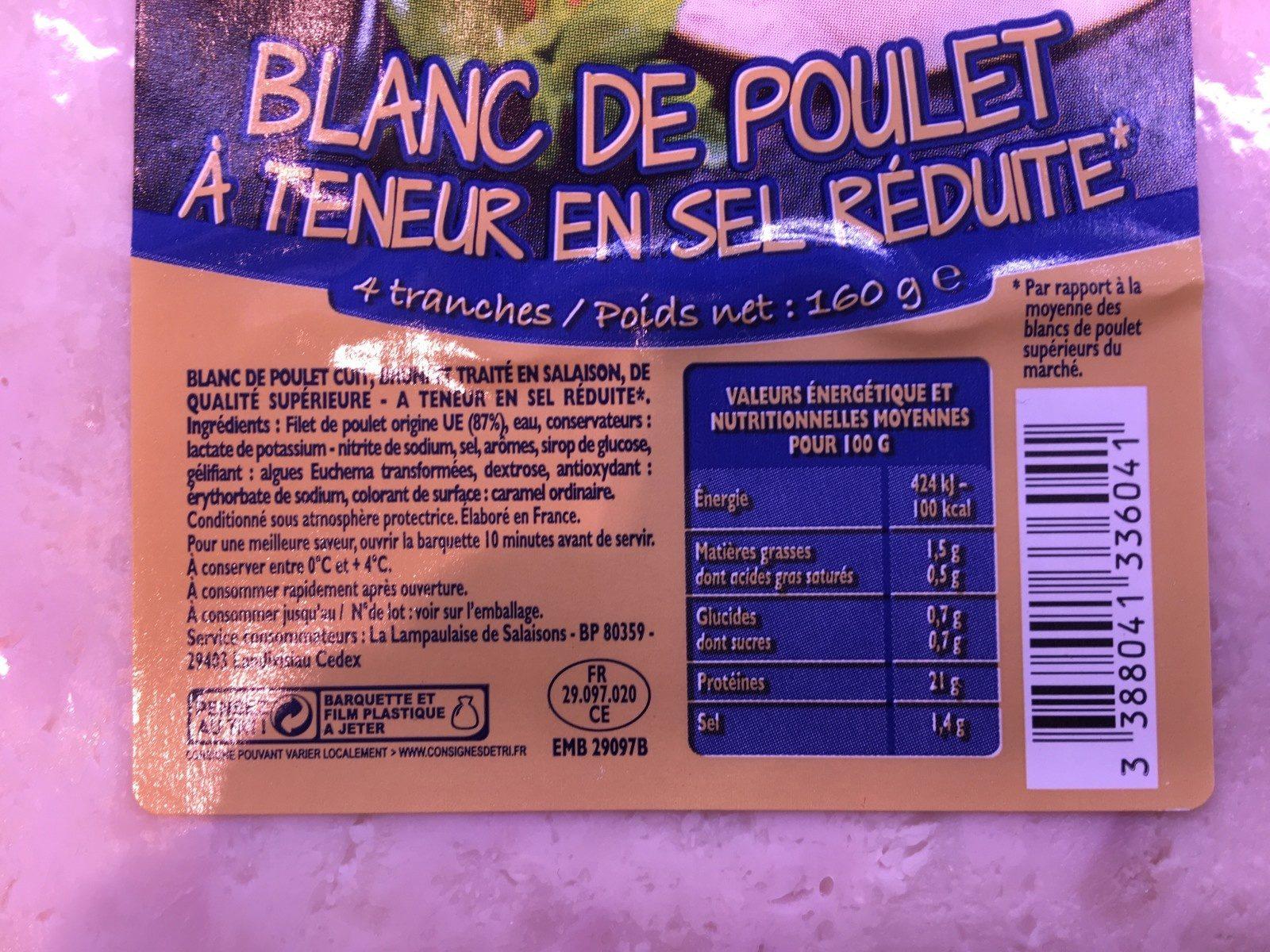 Blanc de poulet à teneur en sel réduite - Ingrédients - fr