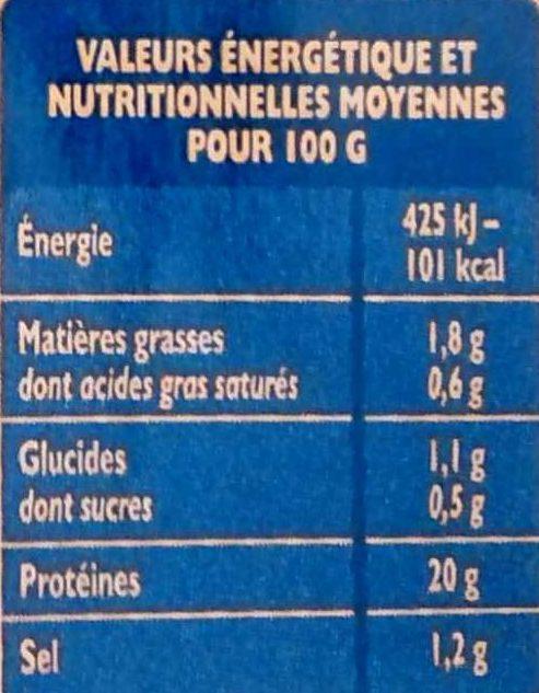 Blanc de poulet à teneur en sel réduite - Informations nutritionnelles - fr