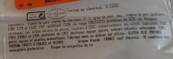 Terrine de chevreuil - Ingrediënten - fr