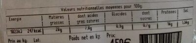 Terrine de chevreuil - Voedingswaarden - fr