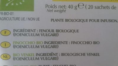 Fenouil bio - Voedigswaarden