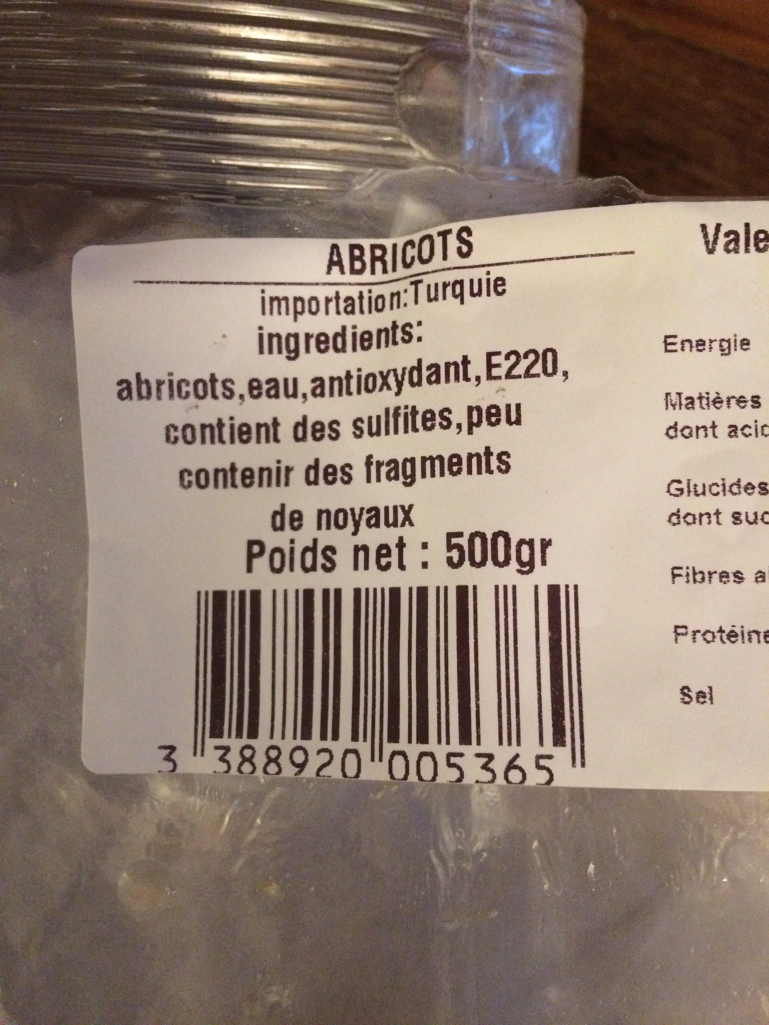 Abricots semi secs - Ingrediënten - fr