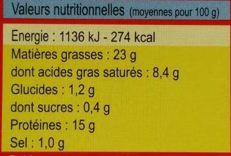 Rillettes de sardines au beurre de baratte - Voedingswaarden