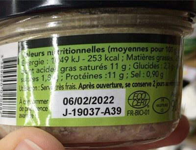 Rillettes sardines fines herbes bio - Nutrition facts - fr