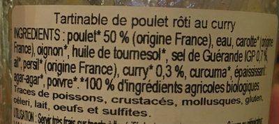 Tartinable de poulet rôti curry - Ingrediënten - fr