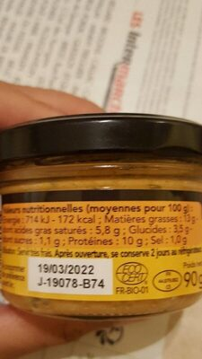 Rillettes de saumon aux zestes de citron - Nutrition facts - fr