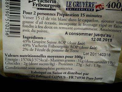 Fondue suisse - Ingredients - fr