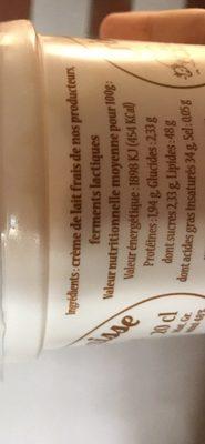 Crème crue épaisse - Ingredients